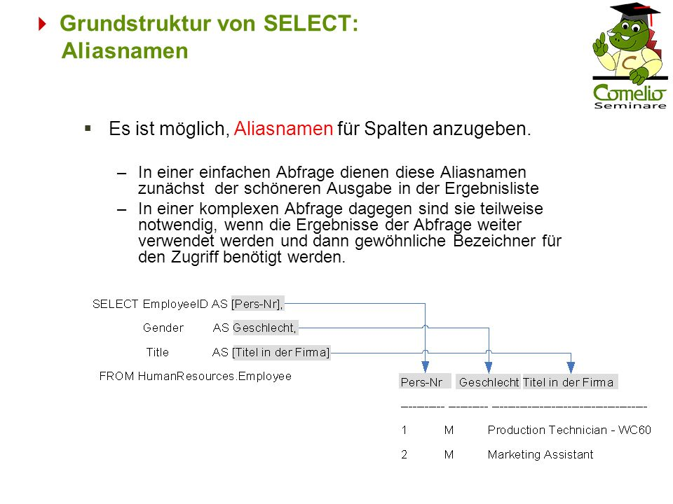  Grundstruktur von SELECT: Aliasnamen