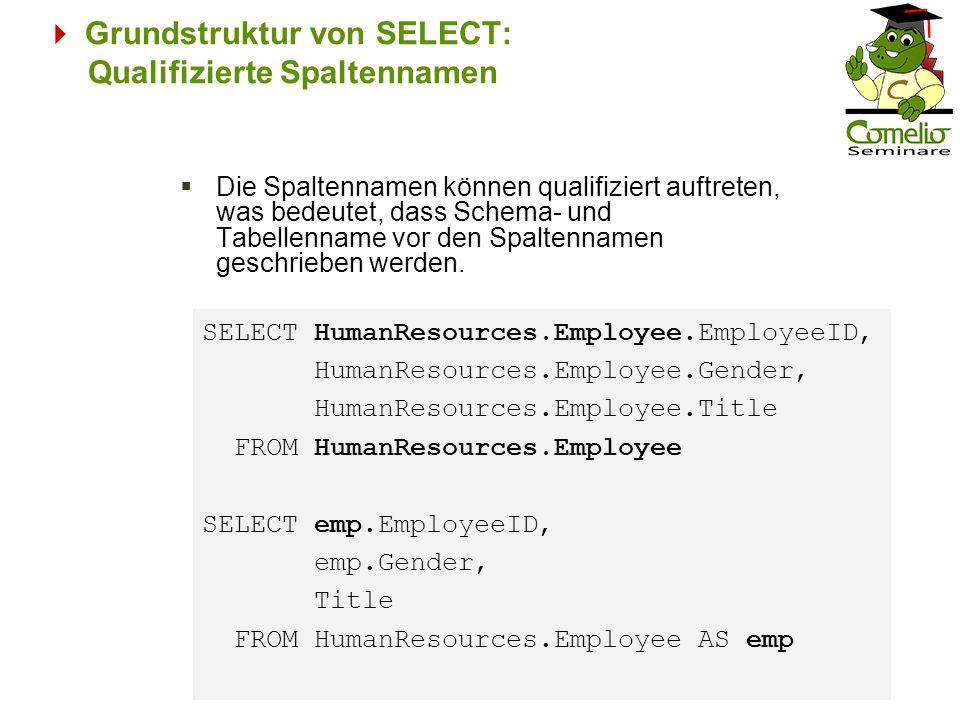  Grundstruktur von SELECT: Qualifizierte Spaltennamen