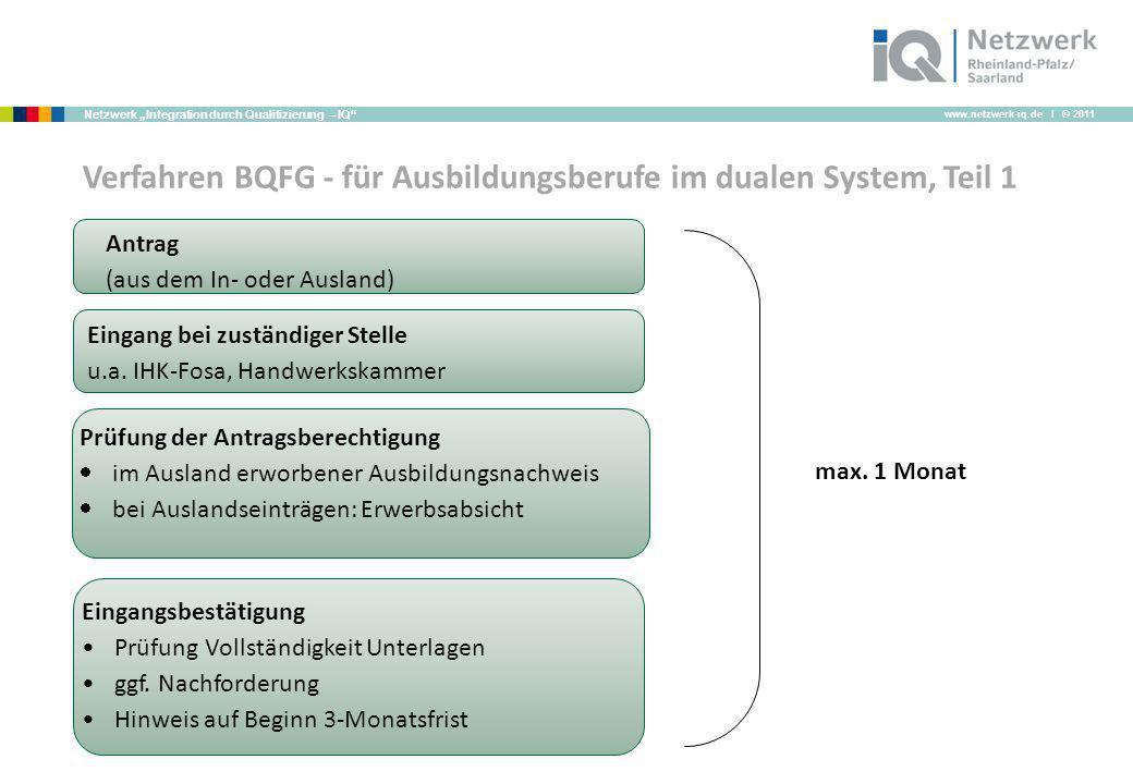 Verfahren BQFG - für Ausbildungsberufe im dualen System, Teil 1