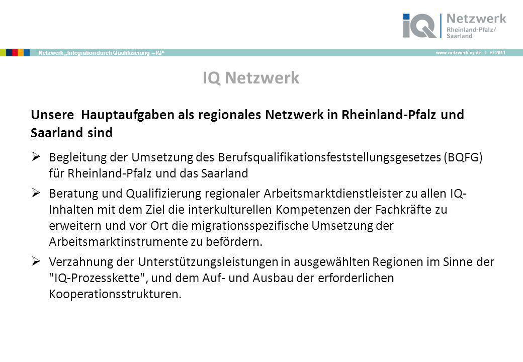 IQ Netzwerk Unsere Hauptaufgaben als regionales Netzwerk in Rheinland-Pfalz und Saarland sind.