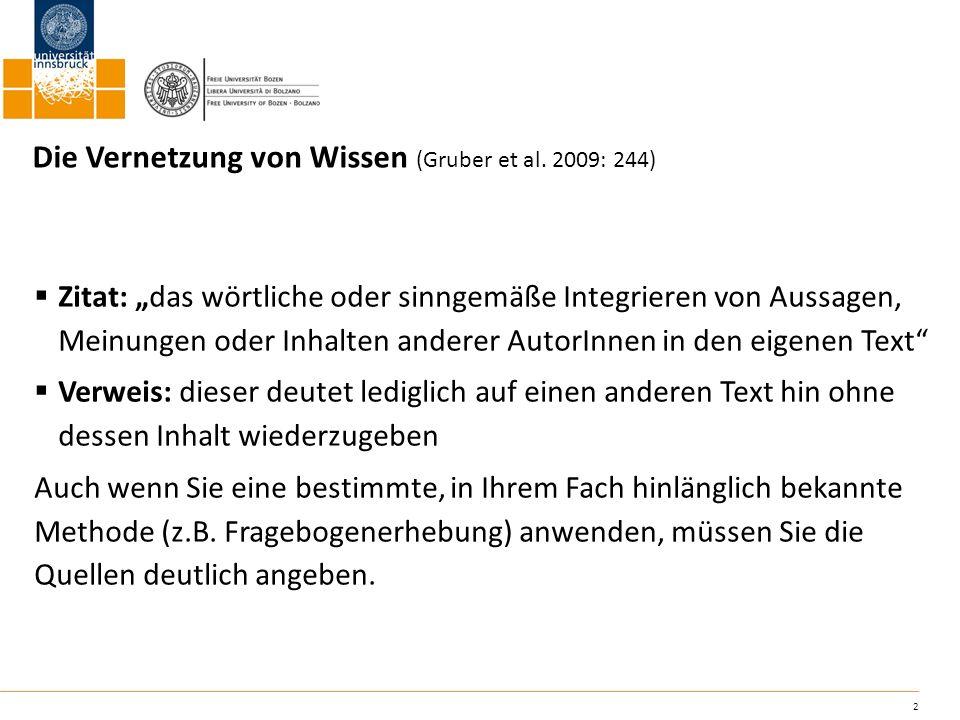 Die Vernetzung von Wissen (Gruber et al. 2009: 244)