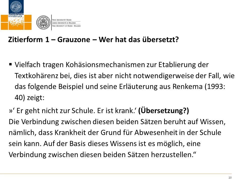 Zitierform 1 – Grauzone – Wer hat das übersetzt