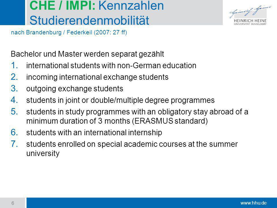 CHE / IMPI: Kennzahlen Studierendenmobilität