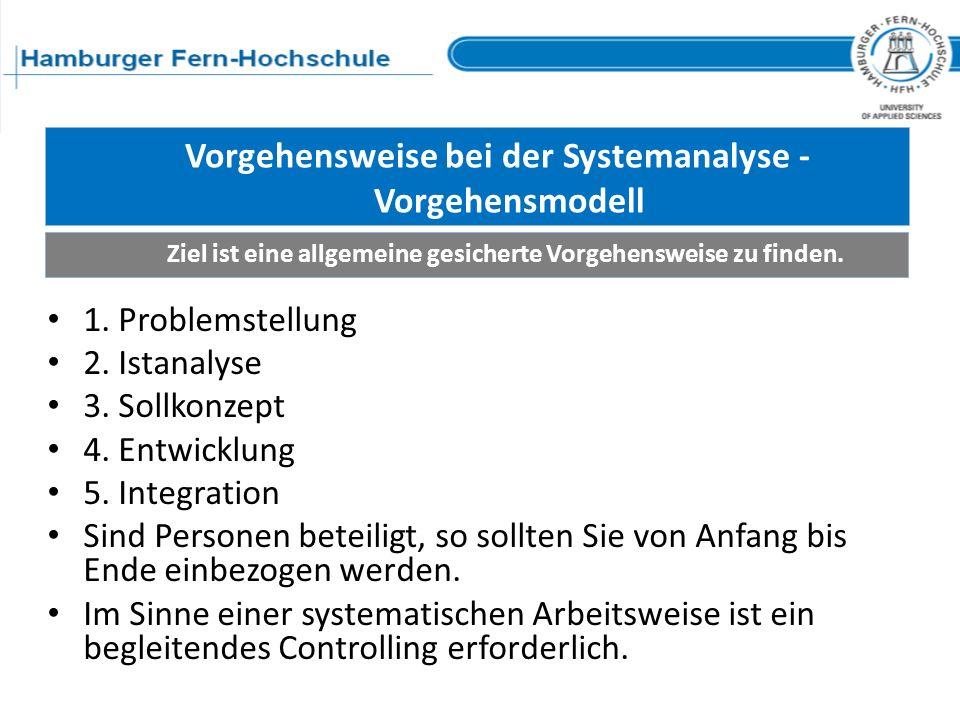 Vorgehensweise bei der Systemanalyse - Vorgehensmodell