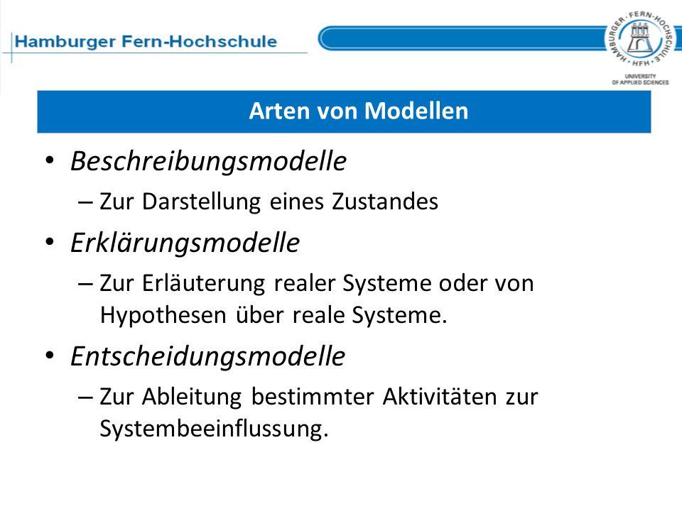 Beschreibungsmodelle Erklärungsmodelle