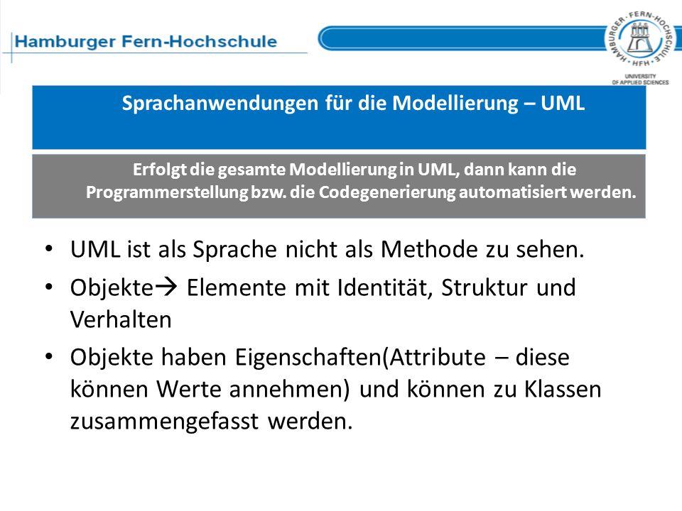 Sprachanwendungen für die Modellierung – UML