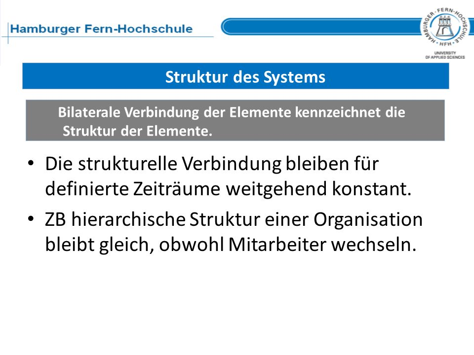 Struktur des Systems Bilaterale Verbindung der Elemente kennzeichnet die Struktur der Elemente.