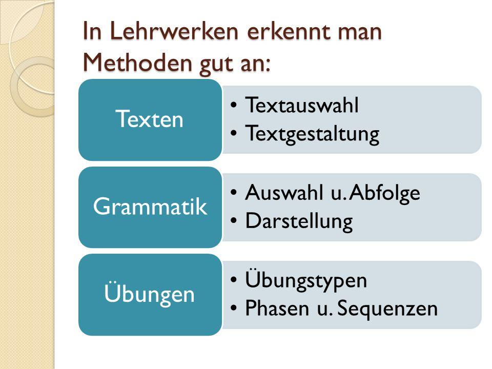 In Lehrwerken erkennt man Methoden gut an:
