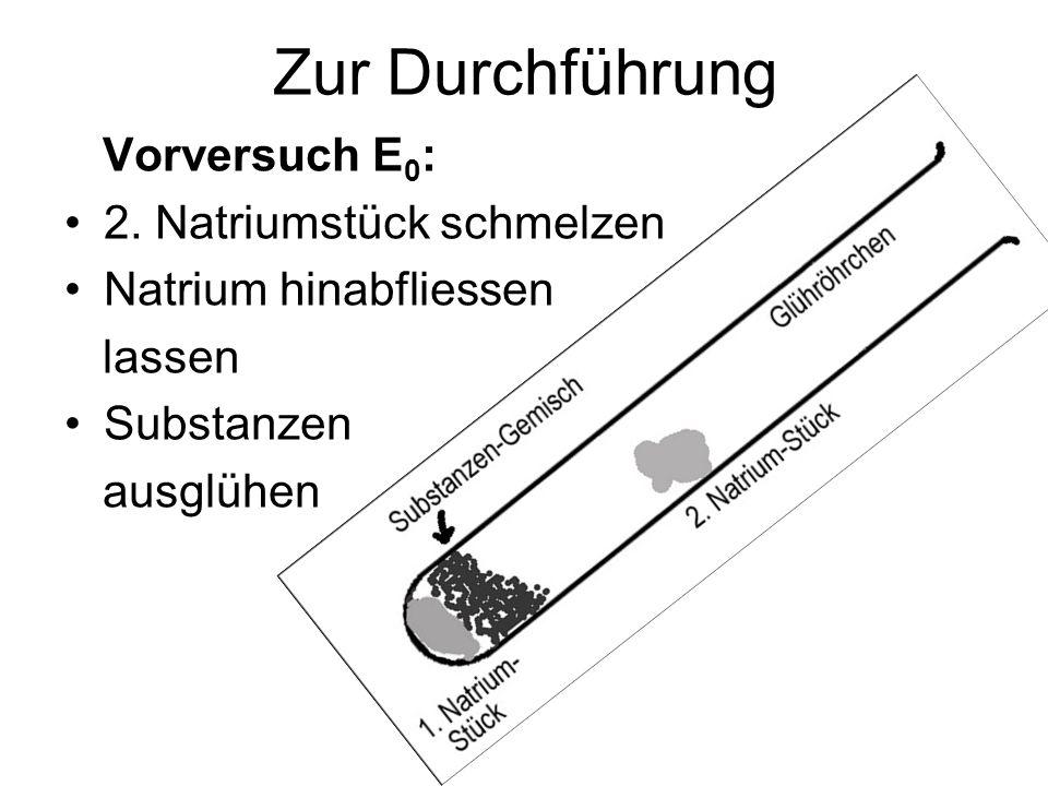 Zur Durchführung Vorversuch E0: 2. Natriumstück schmelzen