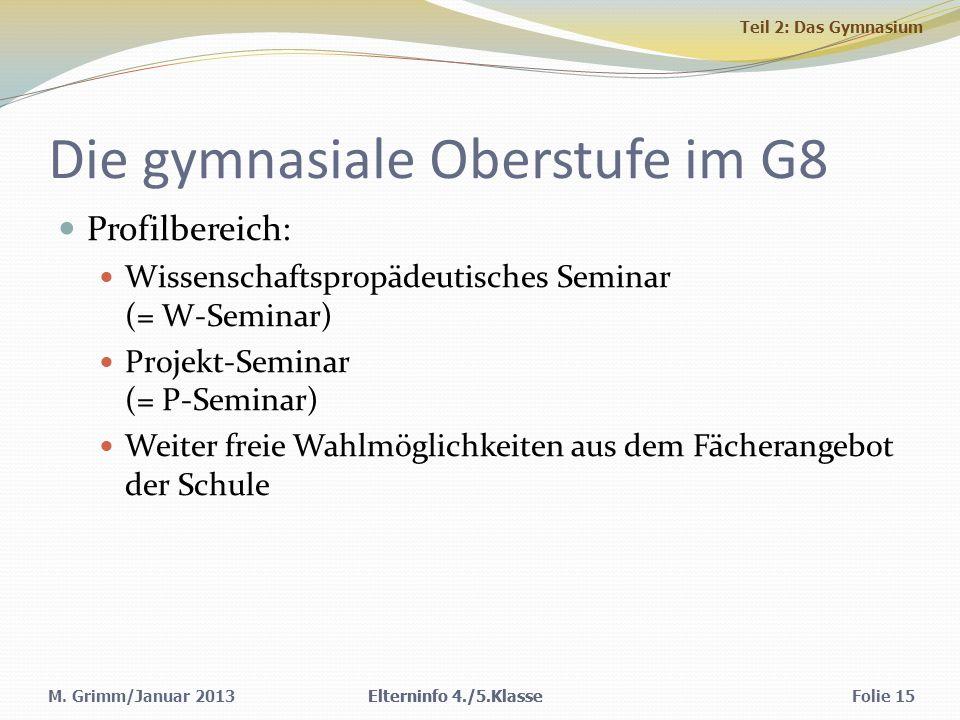 Die gymnasiale Oberstufe im G8