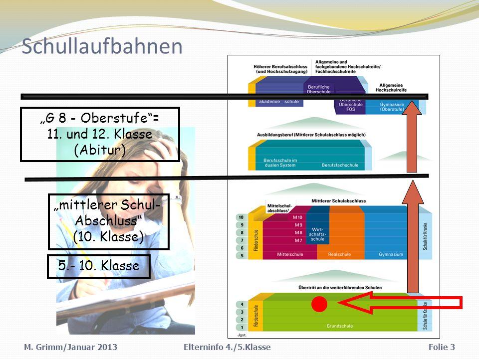 """Schullaufbahnen """"G 8 - Oberstufe = 11. und 12. Klasse (Abitur)"""