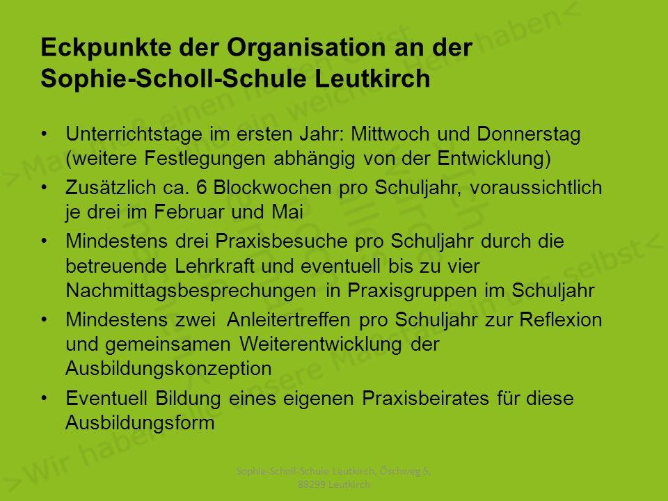 Eckpunkte der Organisation an der Sophie-Scholl-Schule Leutkirch