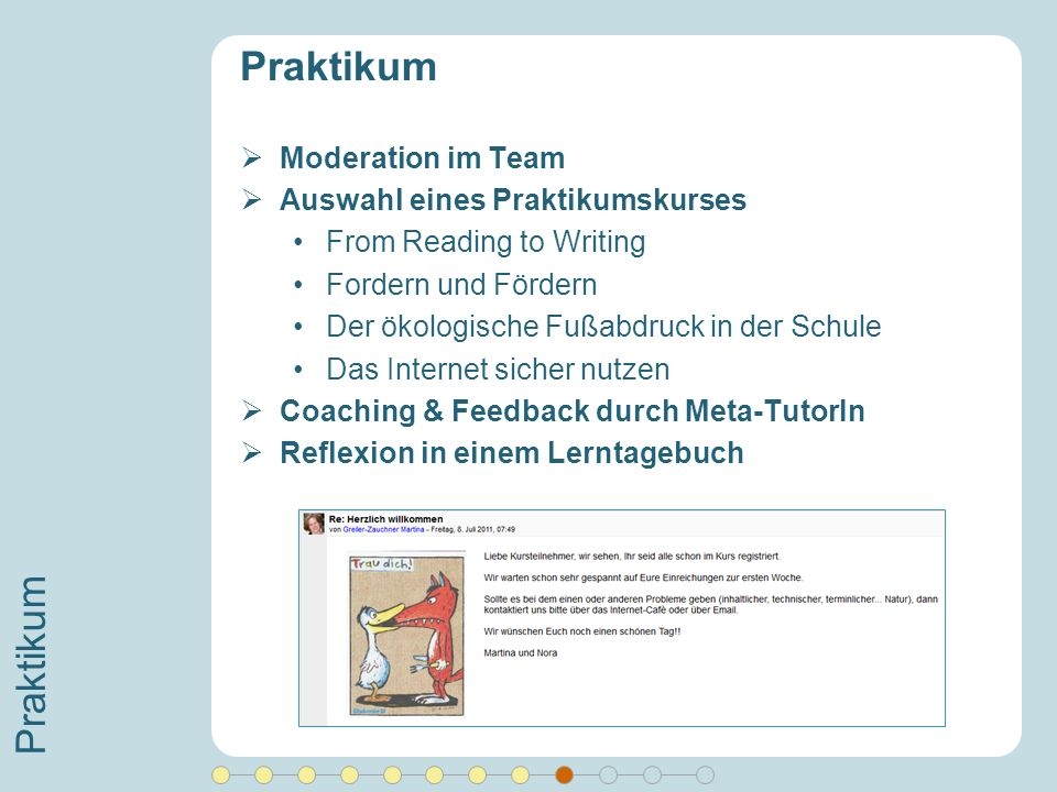 Praktikum Praktikum Moderation im Team Auswahl eines Praktikumskurses