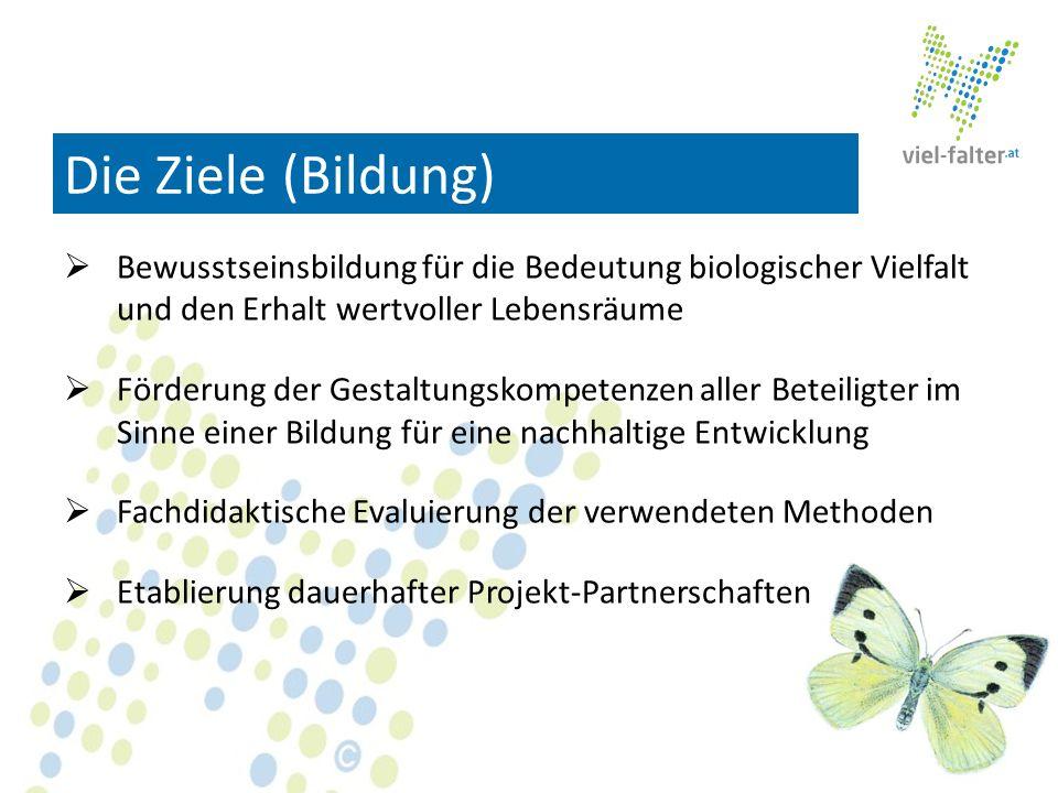 Die Ziele (Bildung) Bewusstseinsbildung für die Bedeutung biologischer Vielfalt und den Erhalt wertvoller Lebensräume.