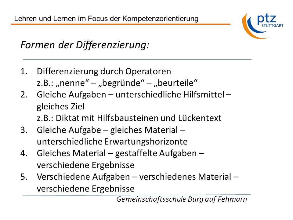 Formen der Differenzierung: