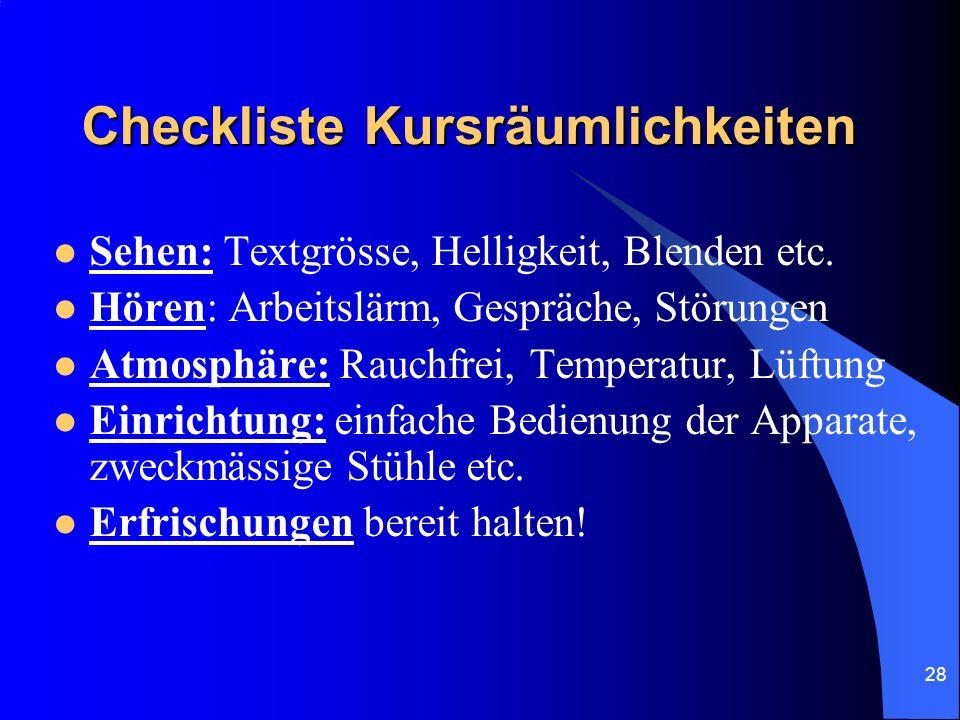 Checkliste Kursräumlichkeiten