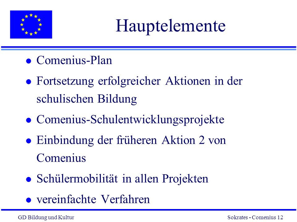 Hauptelemente Comenius-Plan