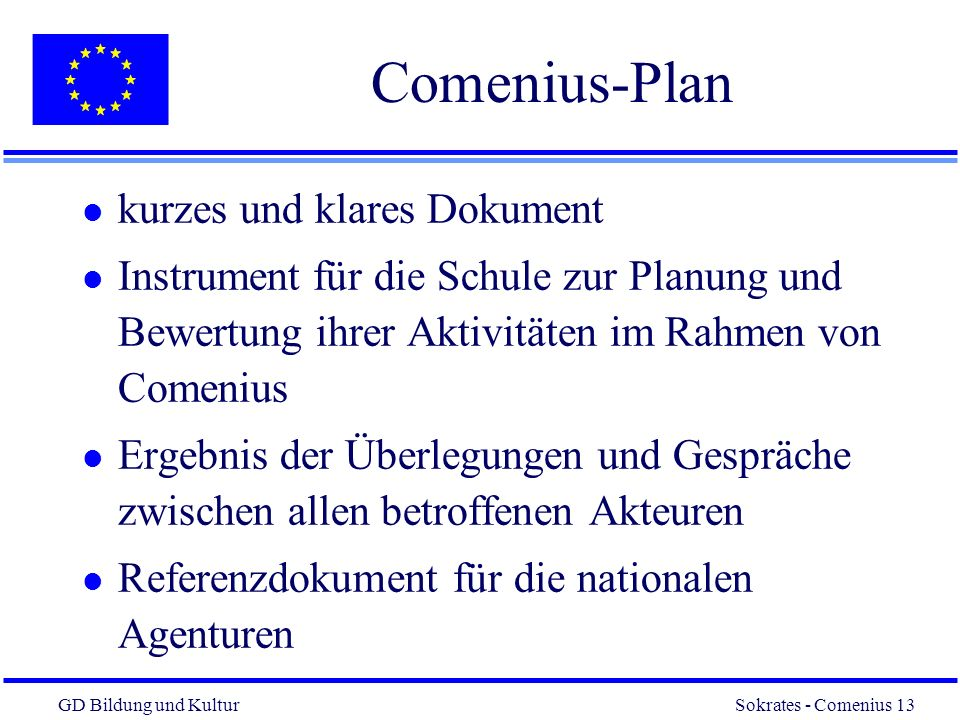 Comenius-Plan kurzes und klares Dokument