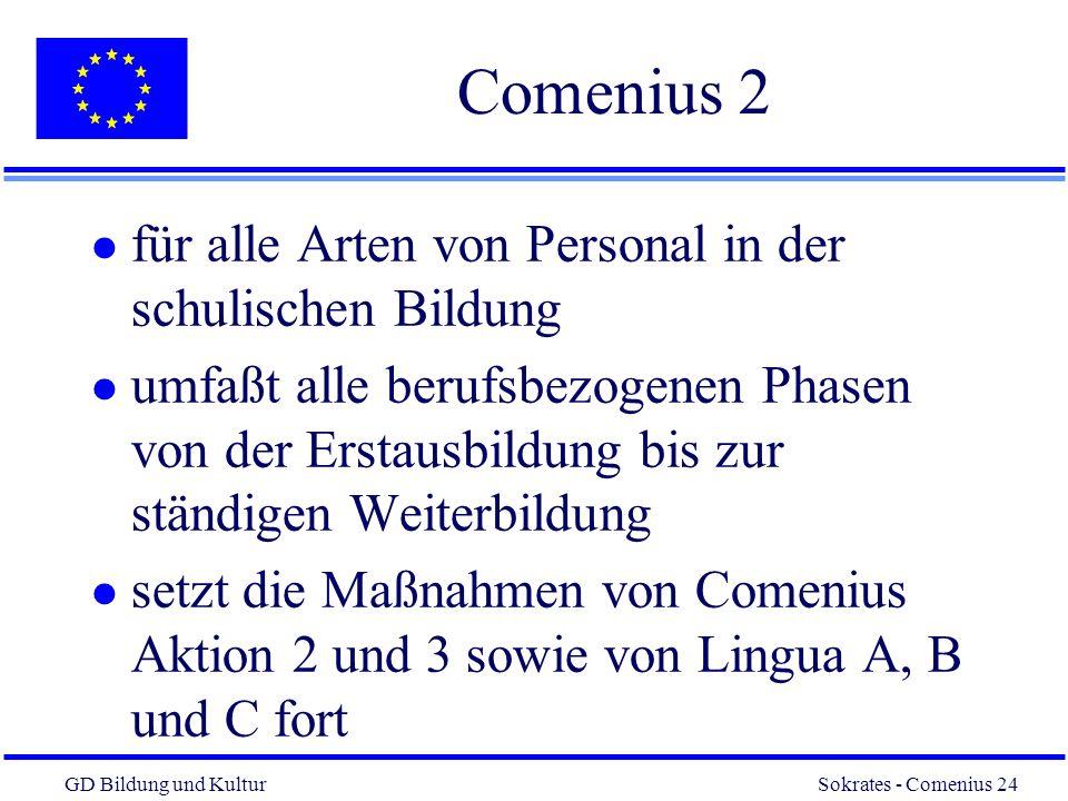 Comenius 2 für alle Arten von Personal in der schulischen Bildung