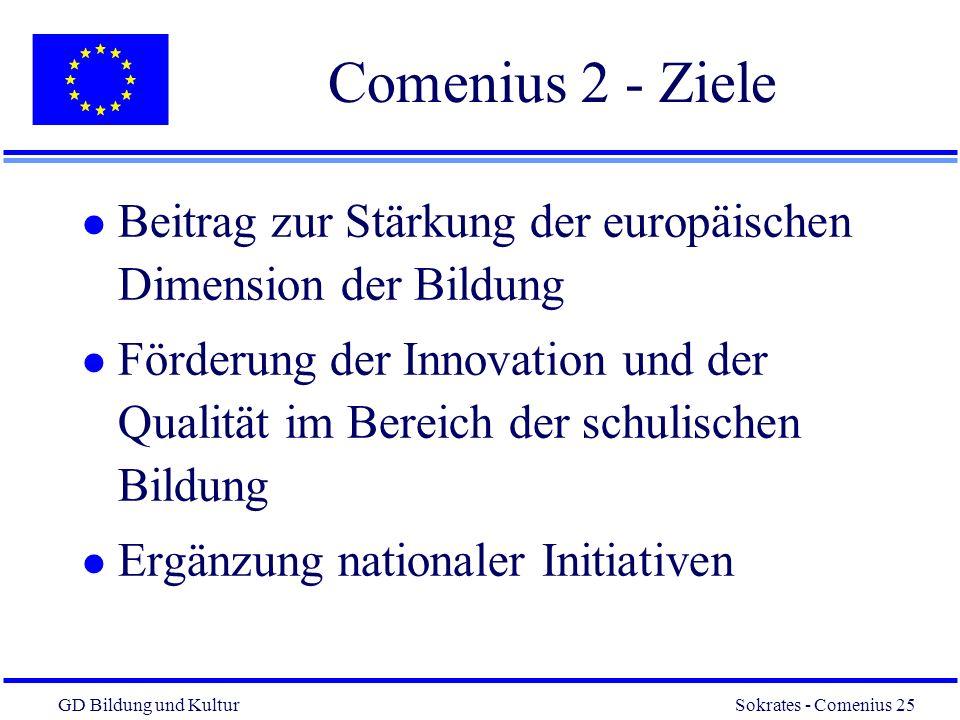 Comenius 2 - Ziele Beitrag zur Stärkung der europäischen Dimension der Bildung.