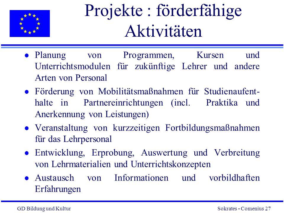 Projekte : förderfähige Aktivitäten