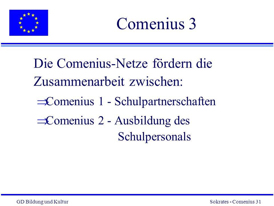 Comenius 3 Die Comenius-Netze fördern die Zusammenarbeit zwischen: