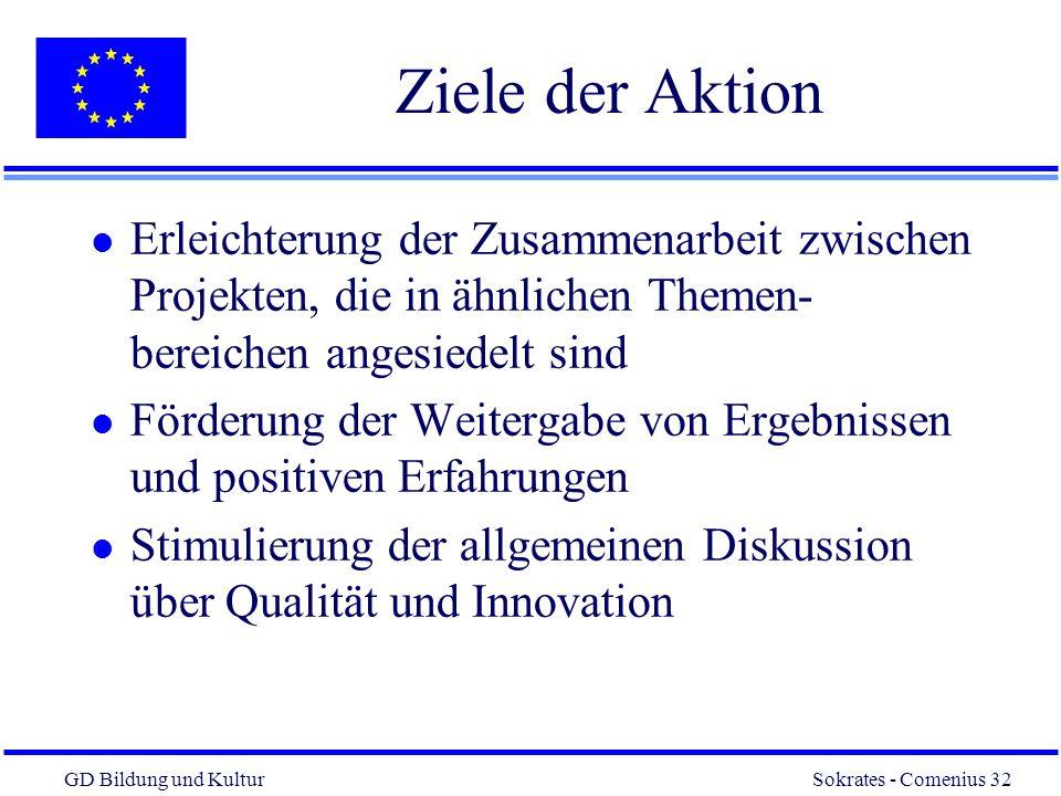 Ziele der Aktion Erleichterung der Zusammenarbeit zwischen Projekten, die in ähnlichen Themen-bereichen angesiedelt sind.