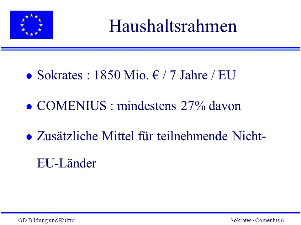 Haushaltsrahmen Sokrates : 1850 Mio. € / 7 Jahre / EU