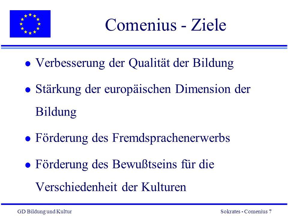 Comenius - Ziele Verbesserung der Qualität der Bildung
