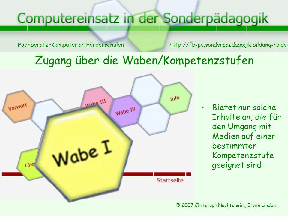 Zugang über die Waben/Kompetenzstufen