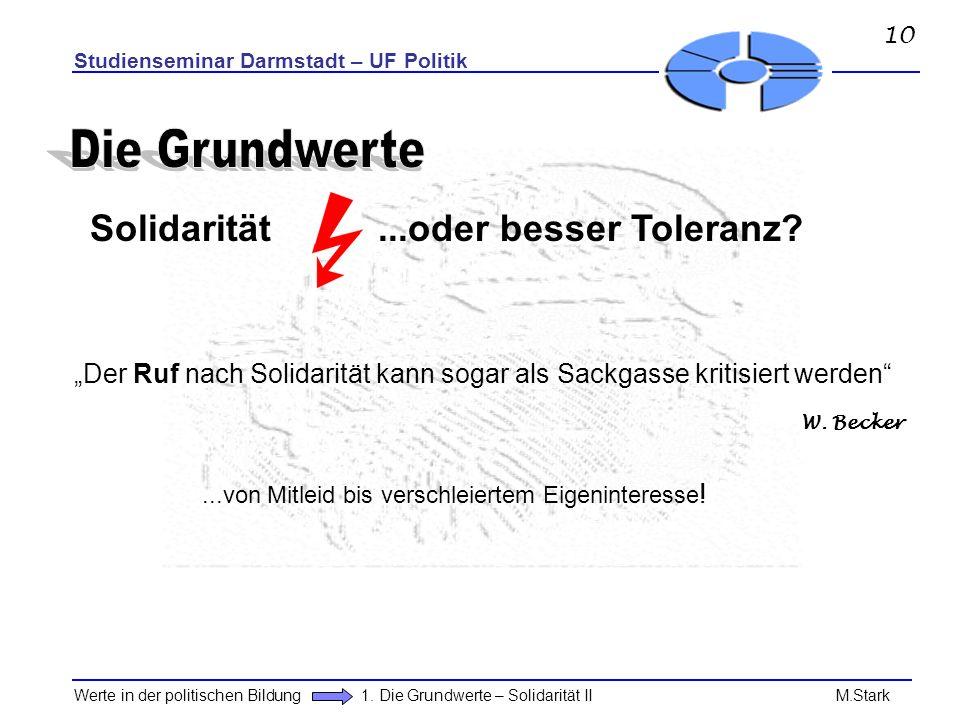 Die Grundwerte Solidarität ...oder besser Toleranz