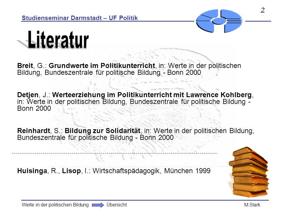 2 Studienseminar Darmstadt – UF Politik. Literatur.