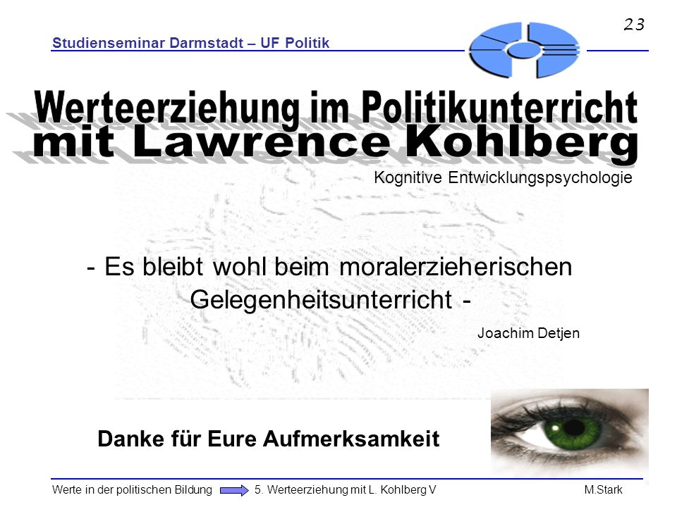 Werteerziehung im Politikunterricht mit Lawrence Kohlberg