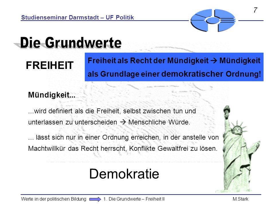 Die Grundwerte Demokratie FREIHEIT