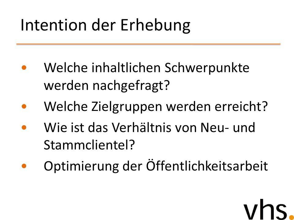 Intention der Erhebung