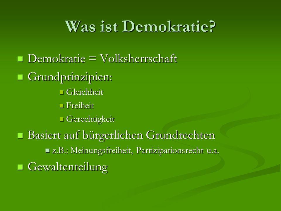 Was ist Demokratie Demokratie = Volksherrschaft Grundprinzipien: