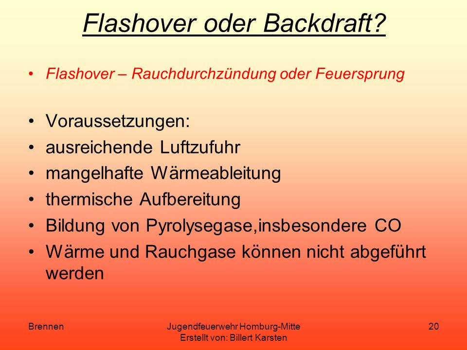 Flashover oder Backdraft