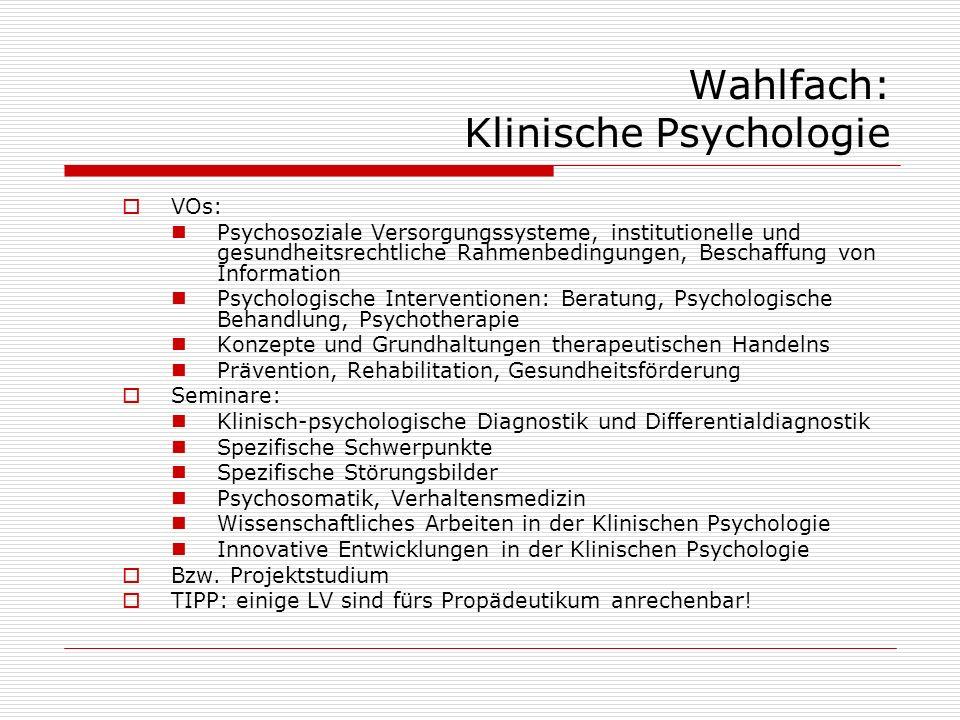Wahlfach: Klinische Psychologie