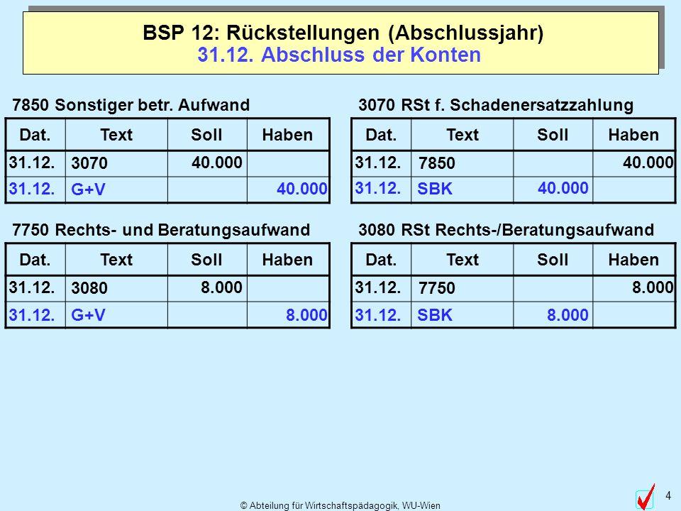BSP 12: Rückstellungen (Abschlussjahr) 31.12. Abschluss der Konten