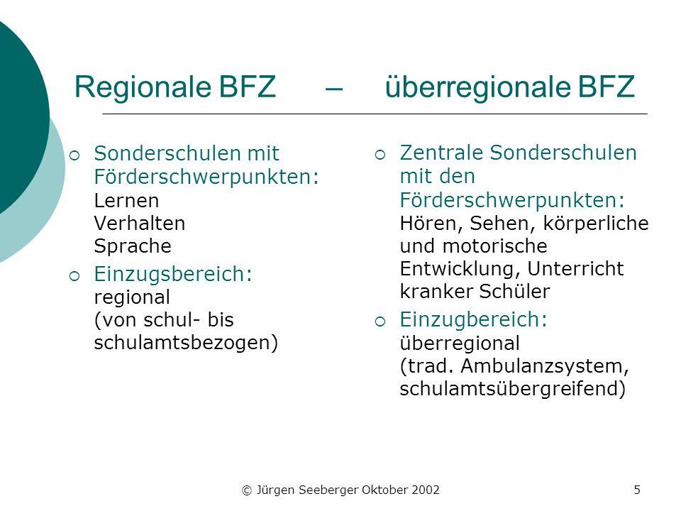 Regionale BFZ – überregionale BFZ