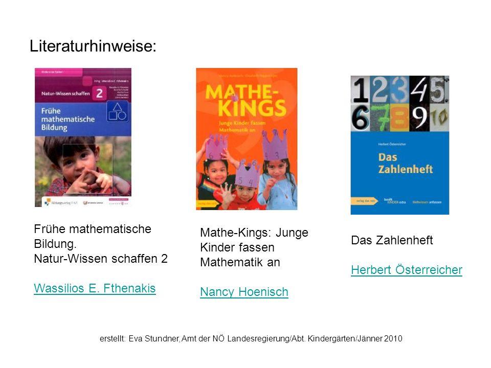 Literaturhinweise: Frühe mathematische Bildung.