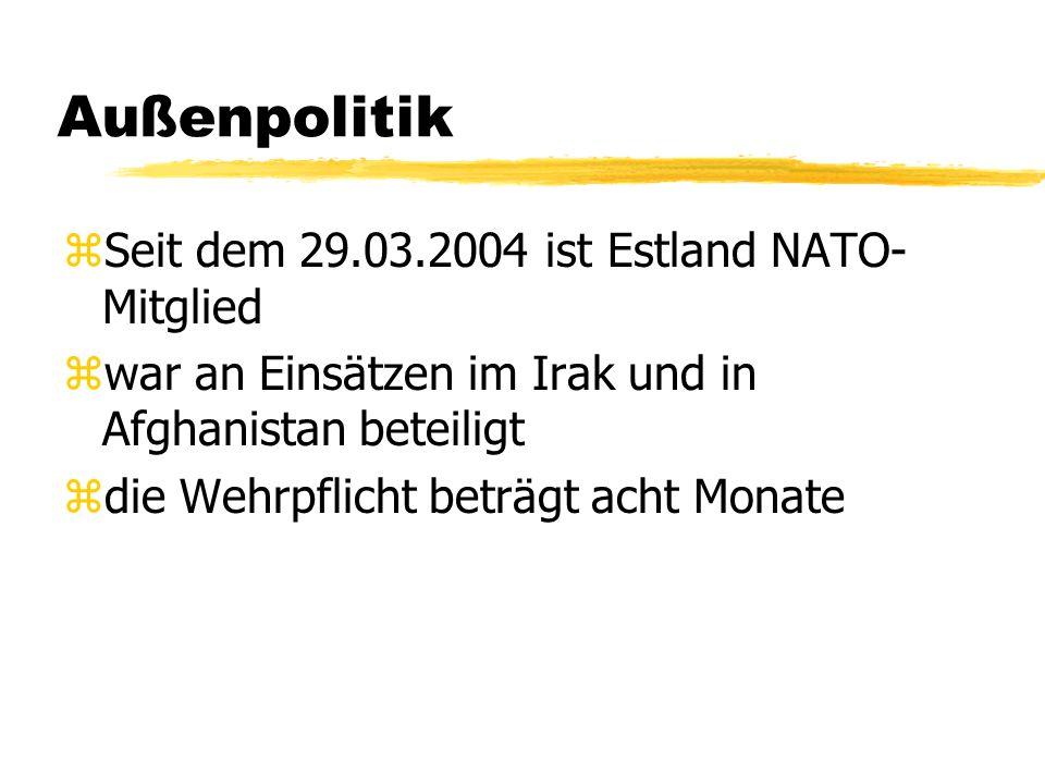 Außenpolitik Seit dem 29.03.2004 ist Estland NATO-Mitglied