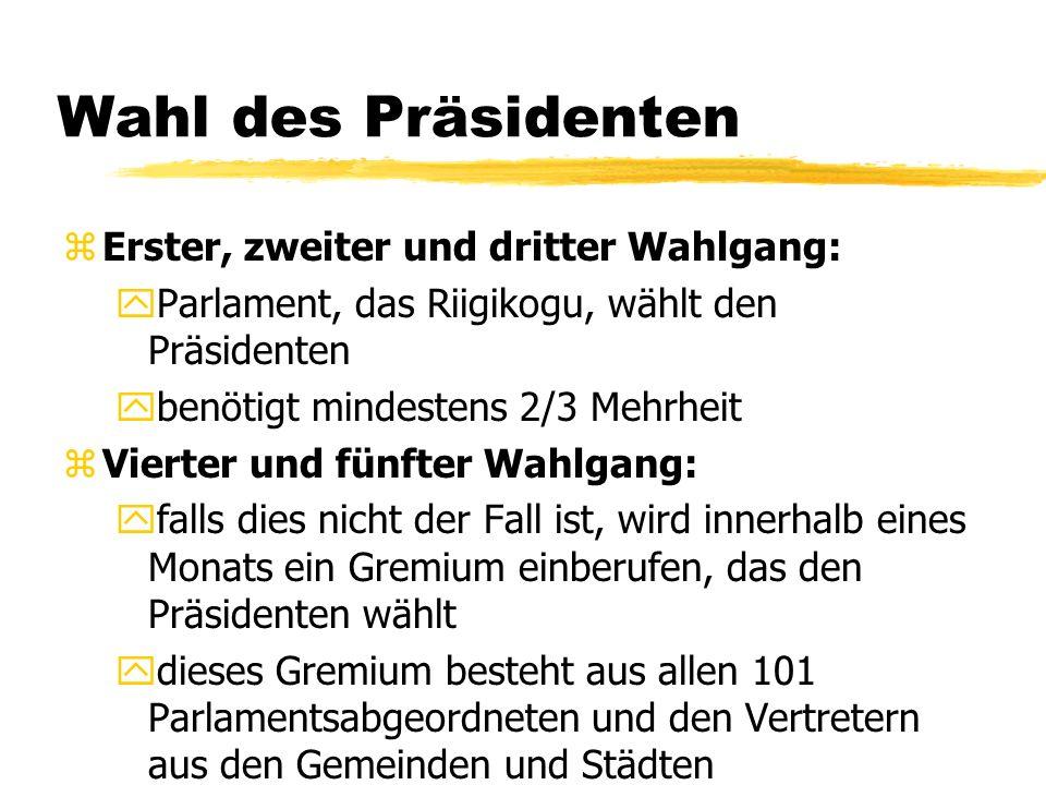 Wahl des Präsidenten Erster, zweiter und dritter Wahlgang: