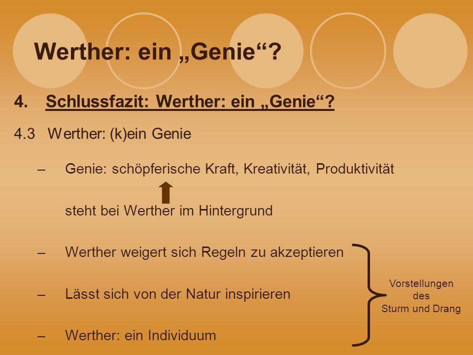 """Werther: ein """"Genie Schlussfazit: Werther: ein """"Genie"""