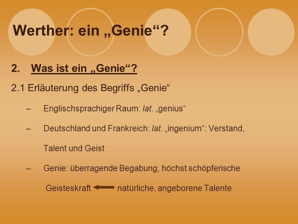 """Werther: ein """"Genie Was ist ein """"Genie"""