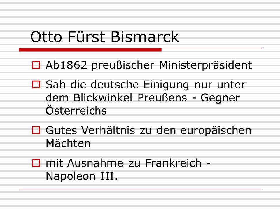 Otto Fürst Bismarck Ab1862 preußischer Ministerpräsident