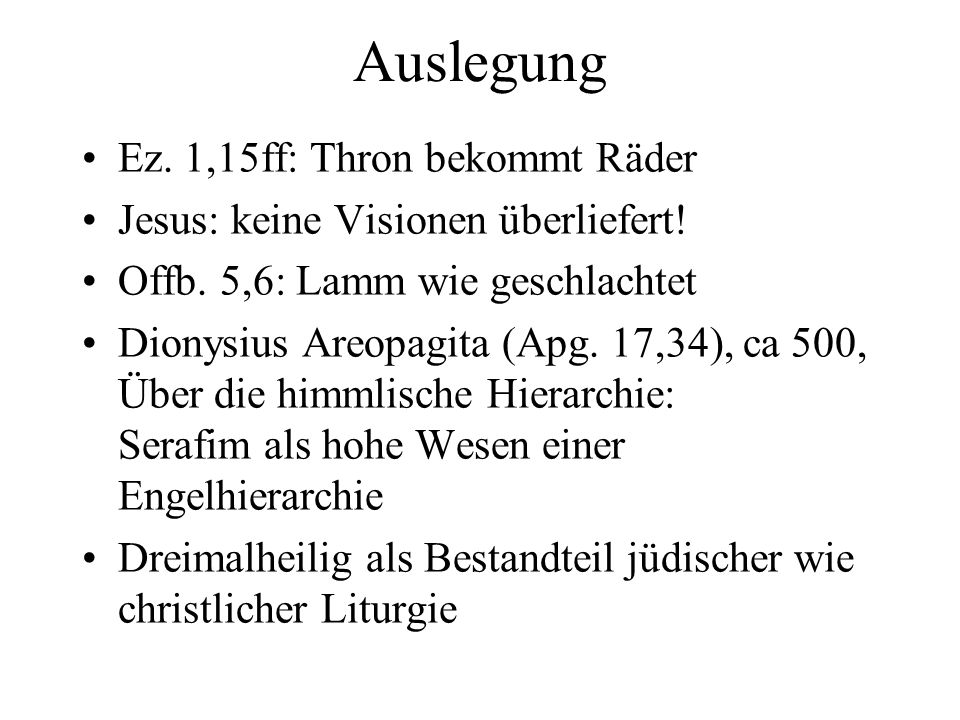 Auslegung Ez. 1,15ff: Thron bekommt Räder