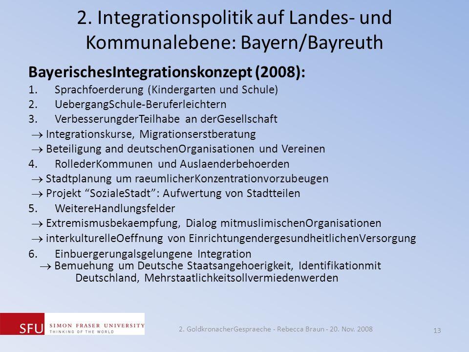2. Integrationspolitik auf Landes- und Kommunalebene: Bayern/Bayreuth