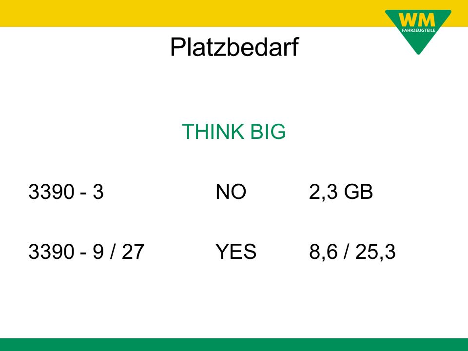 Platzbedarf THINK BIG 3390 - 3 NO 2,3 GB 3390 - 9 / 27 YES 8,6 / 25,3