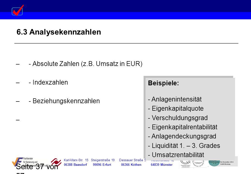 6.3 Analysekennzahlen - Absolute Zahlen (z.B. Umsatz in EUR)